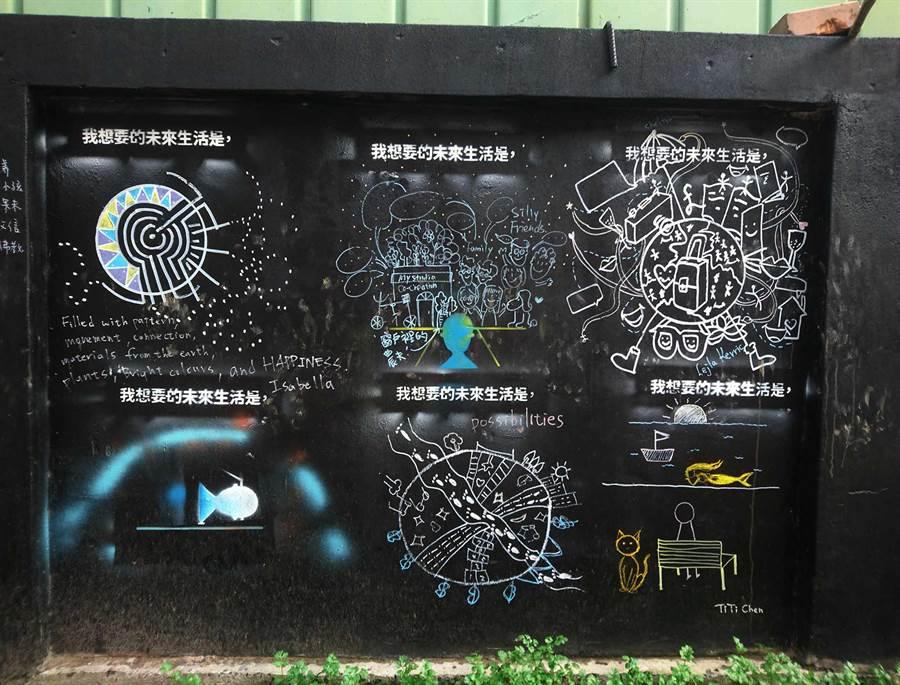 「塗鴉區」作品在和諧中又存在個別趣味,也傳達出對生活、未來、環境的關注與反思。(陳世宗翻攝)