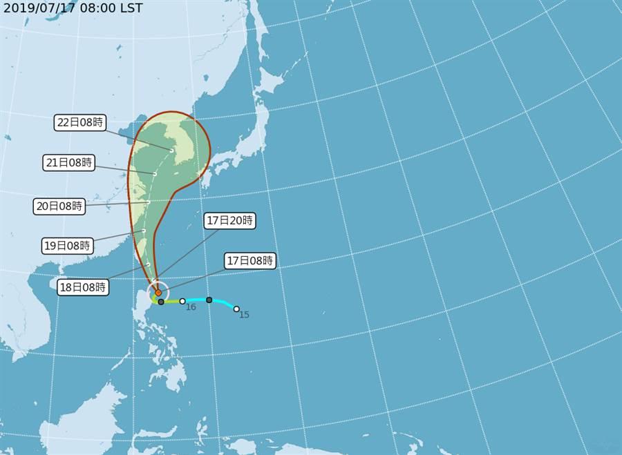 颱風路徑預測。(中央氣象局)