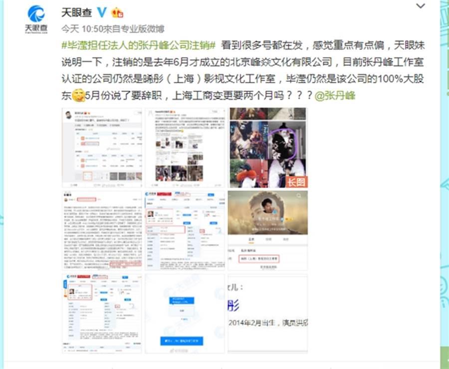網友查出畢瀅仍是張丹峰另一公司股東。(圖/翻攝自天眼查微博)