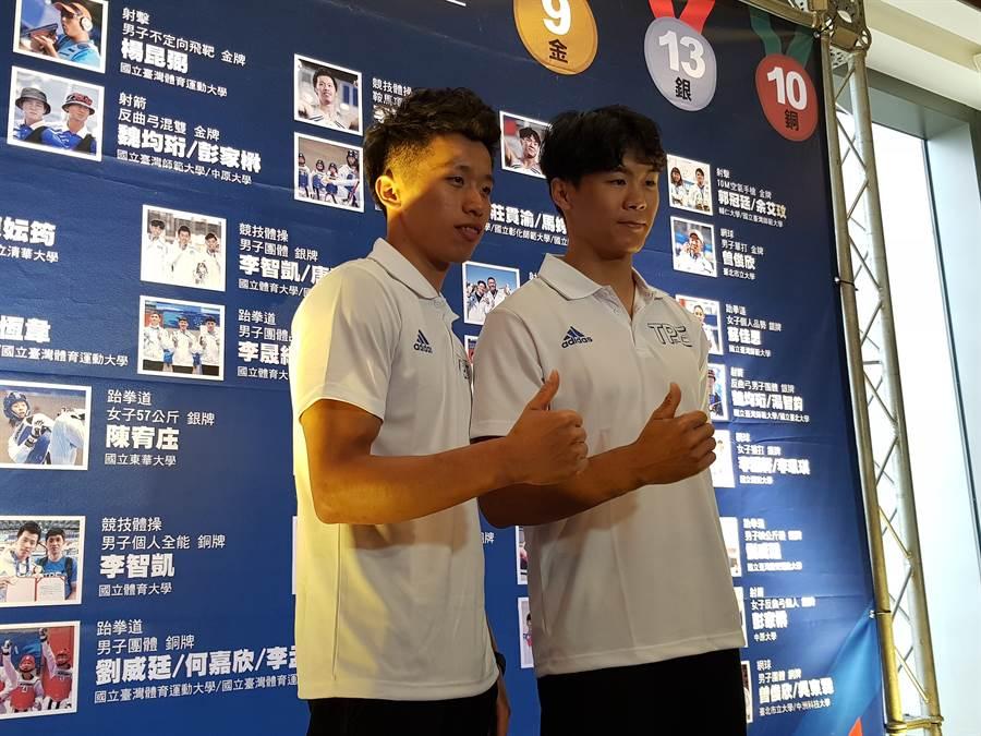 李智凱(左)、唐嘉鴻(右)很有機會拿到2020年東京奧運慘賽資格。(陳筱琳攝/資料照)