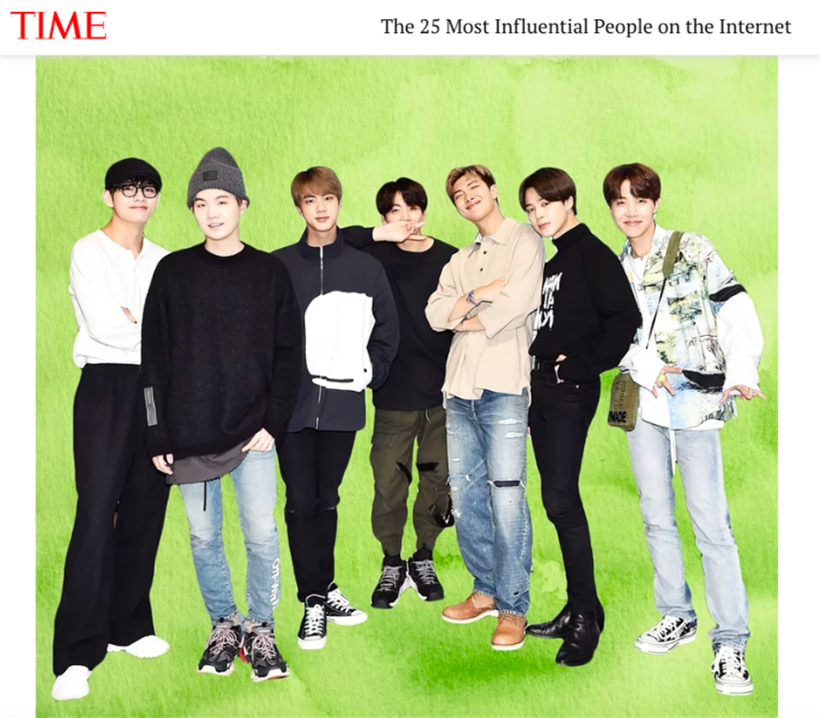防彈少年團(BTS)」連續第3年上榜《TIME》「25大線上最有影響力人物」。
