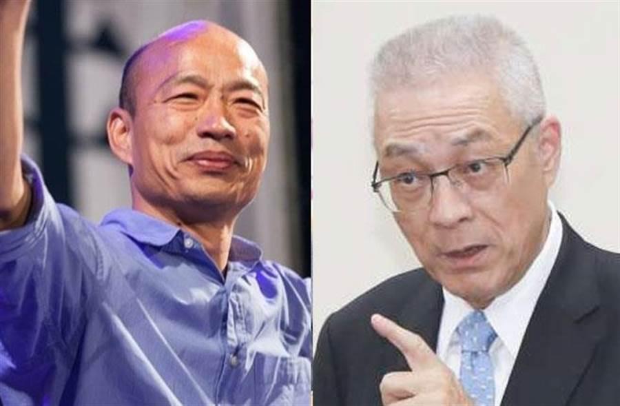 傳吳敦義與韓國瑜的黨政分工默契是,韓帶職參選、吳坐鎮黨中央。(合成照片)