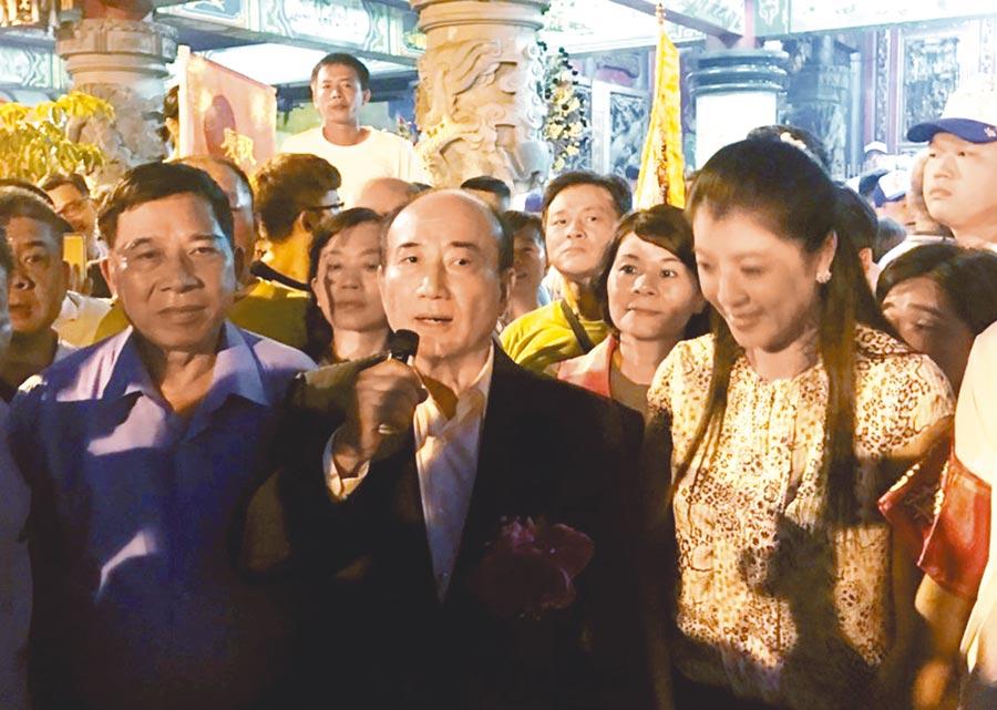 前立法院長王金平在南投配天宮說,韓國瑜在國民黨初選民調勝出,要恭喜韓市長還要祝福他。不過王取消原訂20日與韓國瑜聚會,令韓王關係更撲朔迷離。(楊樹煌攝)
