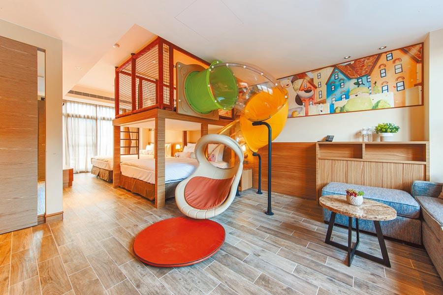 親子庭園家庭房型中,室內溜滑梯也深受小孩喜愛。(瑞穗春天國際觀光酒店提供)