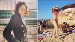 《金祕書》女星穿中空泳裝曬「美腿、超長11字腹肌」引暴動