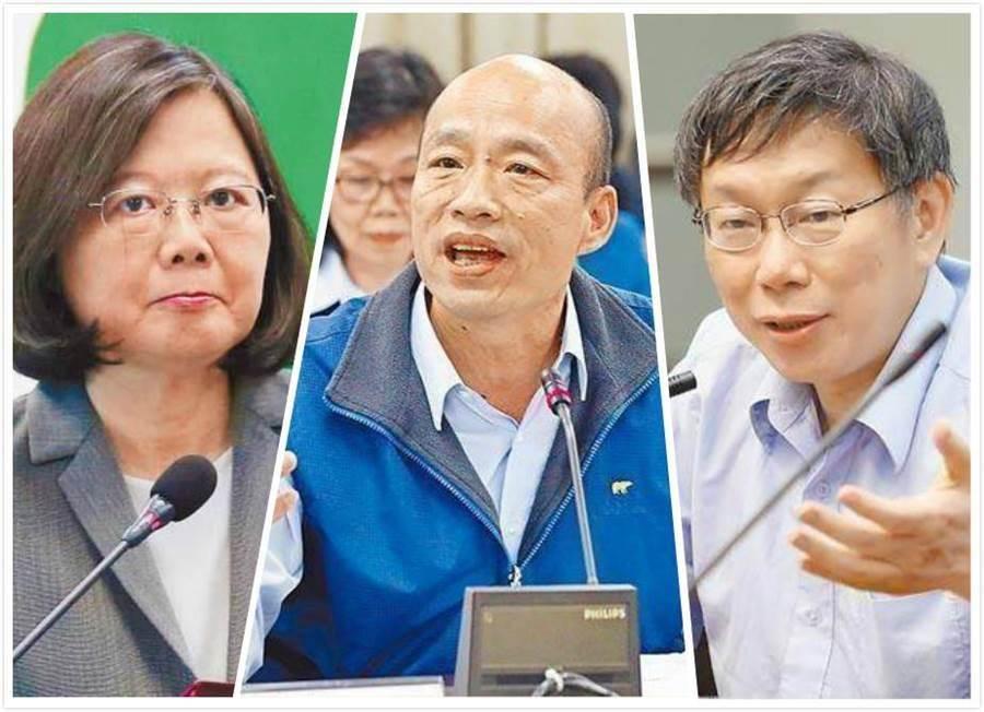 總統蔡英文(左)、高雄市長韓國瑜(中)、台北市長柯文哲。(右)。(合成圖/中時資料照)