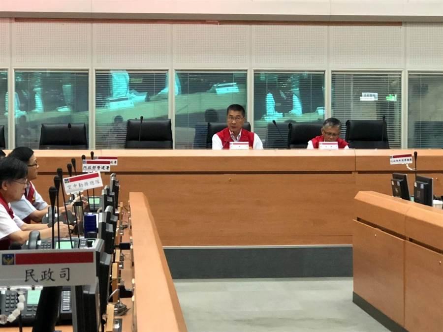 中央災害應變中心今(18日)上午舉行第5次工作會報,由內政部長徐國勇主持。(葉書宏翻攝)