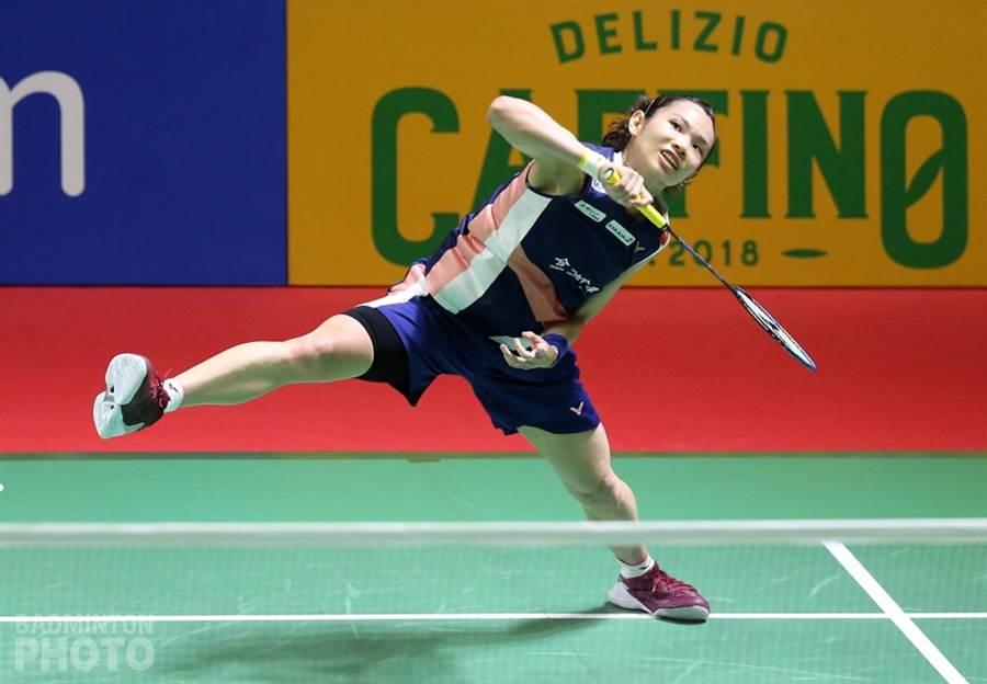 戴資穎專注面對每一球,在場上全力發揮。(Badminton Photo提供)