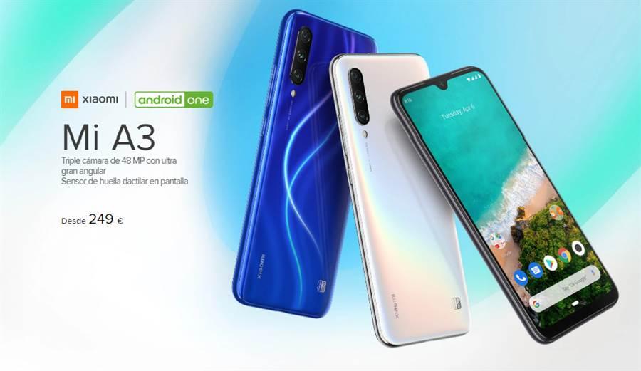 小米 A3 正式在西班牙發表,就是日前發表的小米 CC9e 國際版本,搭載 Android One 系統。(圖/翻攝小米西班牙官網)