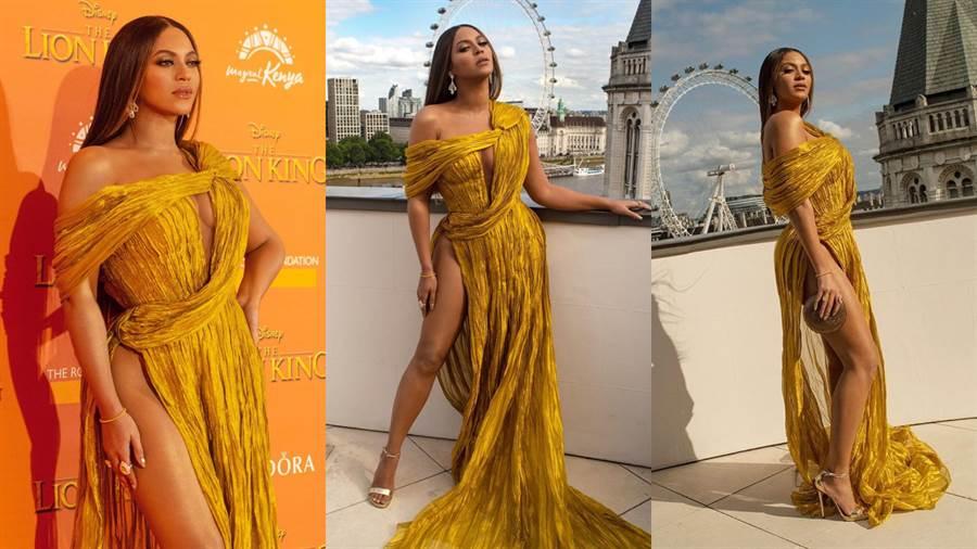 碧昂絲(Beyoncé)身穿金黃色連身裙,辣秀翹臀酥胸,相當性感。(圖/IG @beyonce)
