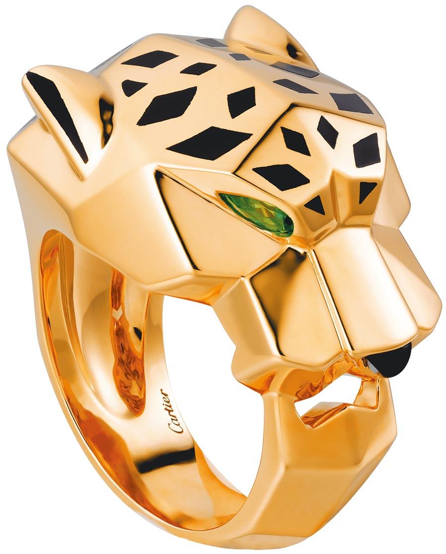 卡地亞美洲豹戒指,黃K金、橄欖石、縞瑪瑙及黑色釉漆,34萬4000元。(Cartier提供)