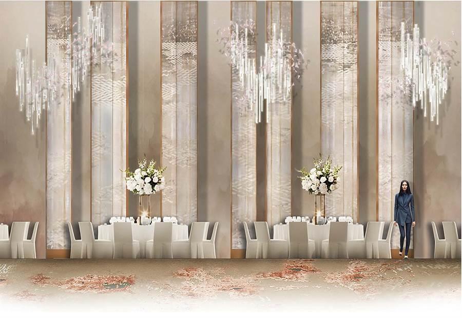 全新改裝的遠東宴會廳,融合宋代美學與當代設計。(圖/香格里拉台北遠東飯店)