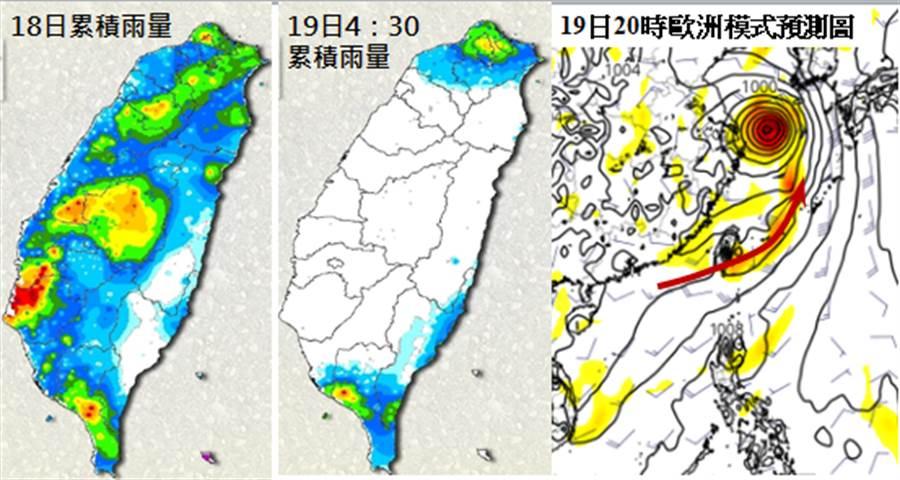 最新(18日20時)歐洲中期預報中心(ECMWF)模式模擬19日20時天氣圖顯示,低壓環流通過台灣南端後,「季風低壓」的西南風將進入台灣(右圖)(翻攝三立準氣象·老大洩天機)