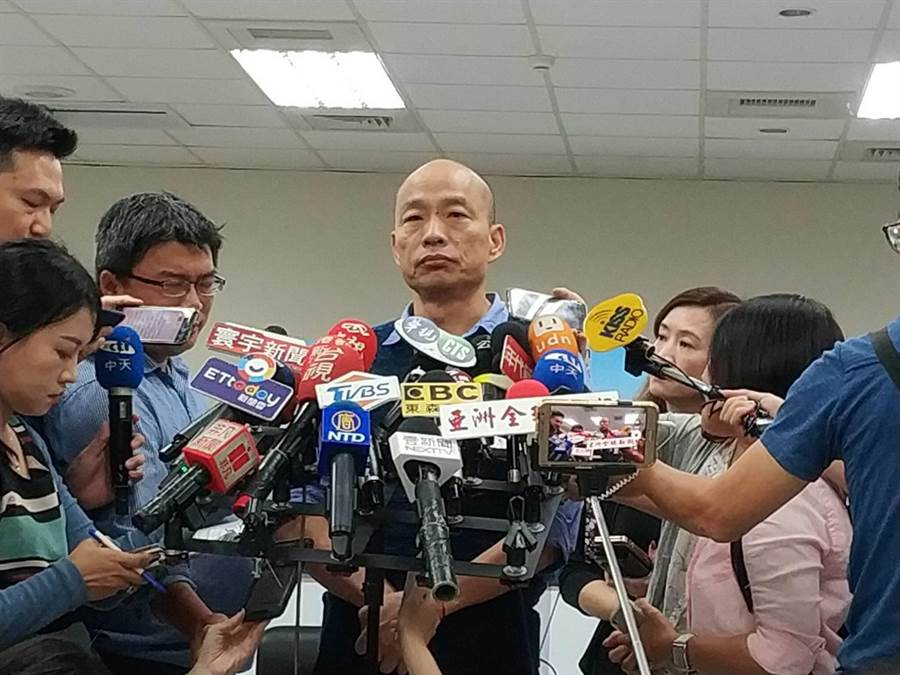 對於檢調也要查媒體,韓國瑜表示,新聞自由是普世價值,執政黨蔡英文政府千萬不要沾上「打壓新聞自由」的汙名。(曹明正攝)