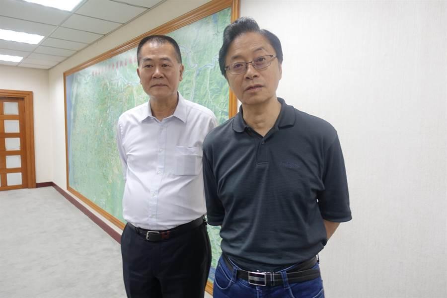 前行政院長張善政(右)認為林飛帆上任民進黨秘書長與吳音寧事件是一樣的。(周麗蘭攝)