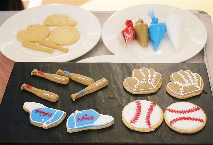 嘉義耐斯王子大飯店推棒球造型的烘焙甜品。(廖素慧攝)