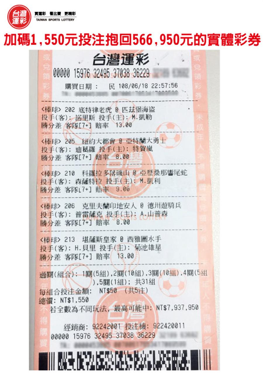 抱回566,950元的實體彩券(台灣運彩提供)