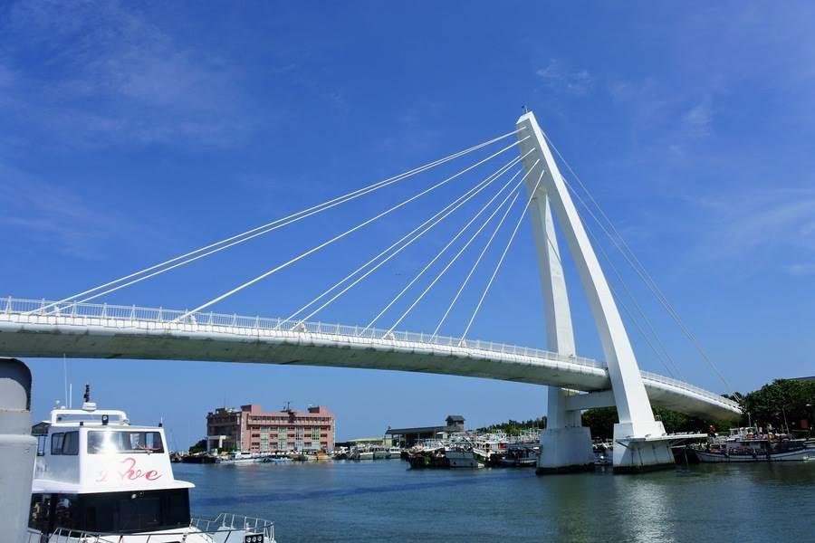 搭乘淡水「藍色公路航程」,欣賞遼闊的河岸景色,也能看到美麗情人橋。
