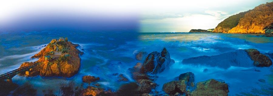 (左圖)夢幻鐵堡。(右圖)馬祖藍眼淚被CNN選為世界15大自然奇景及美國太空總署NASA列為國際級特殊景觀。(連江縣政府提供)