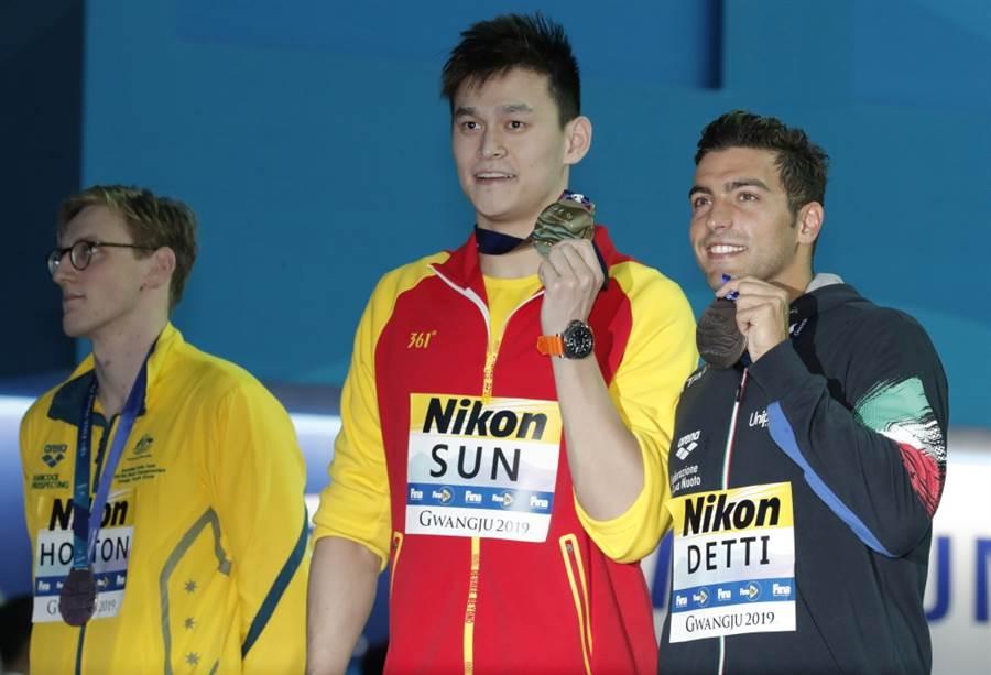 澳洲泳將霍頓(左起)、中國大陸孫楊、義大利戴提。(美聯社資料照)