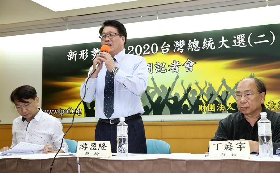 台灣民意基金會22日舉行「新形勢下的 2020台灣總統大選(二)」民調發表會,基金會董事長游盈隆(中)說明民調結果,當柯文哲投入2020總統大選時,33.5%支持韓國瑜,32.6%支持蔡英文,25.5%支持柯文哲。(劉宗龍攝)