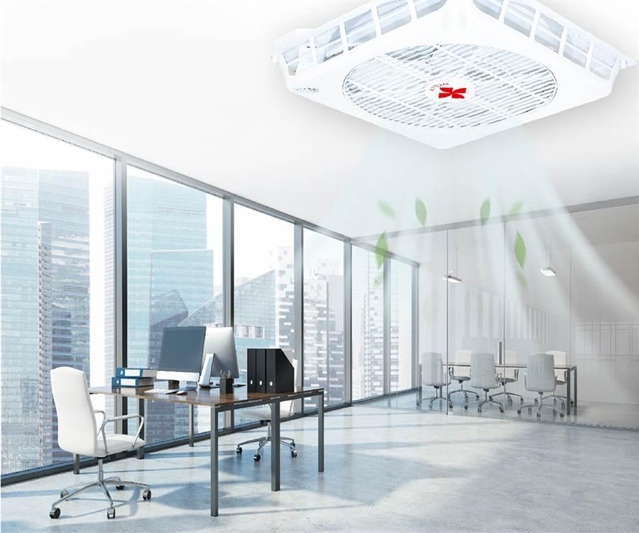 環境舒適與否大大影響工作情緒和效率,安裝天花板循環扇讓全室享有舒適溫度,引發熱議,業者則乘勝追擊提供「企業租賃方案」,讓頭家們輕鬆安裝。(圖片/台灣威力提供)