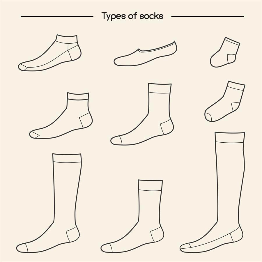 襪子有很多種款式,船型襪、中筒襪、半筒襪等等。(圖/shutterstock)