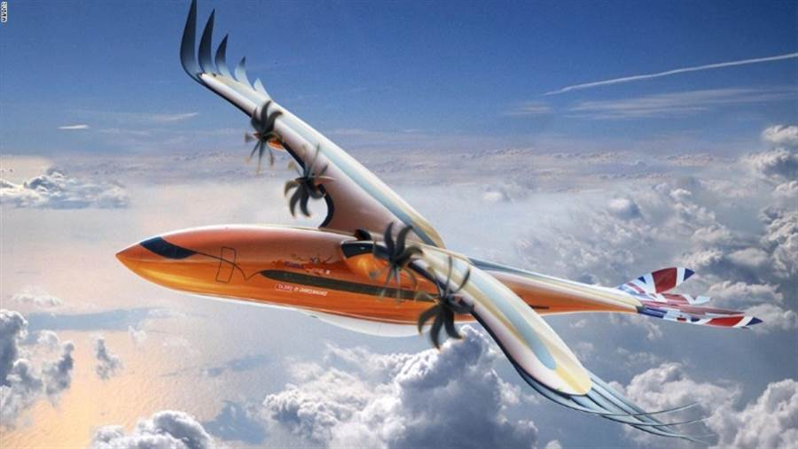 空巴提出一種未來客機模型,應用鳥類的翅膀和尾巴,改成機翼與尾翼。(圖/空中巴士)