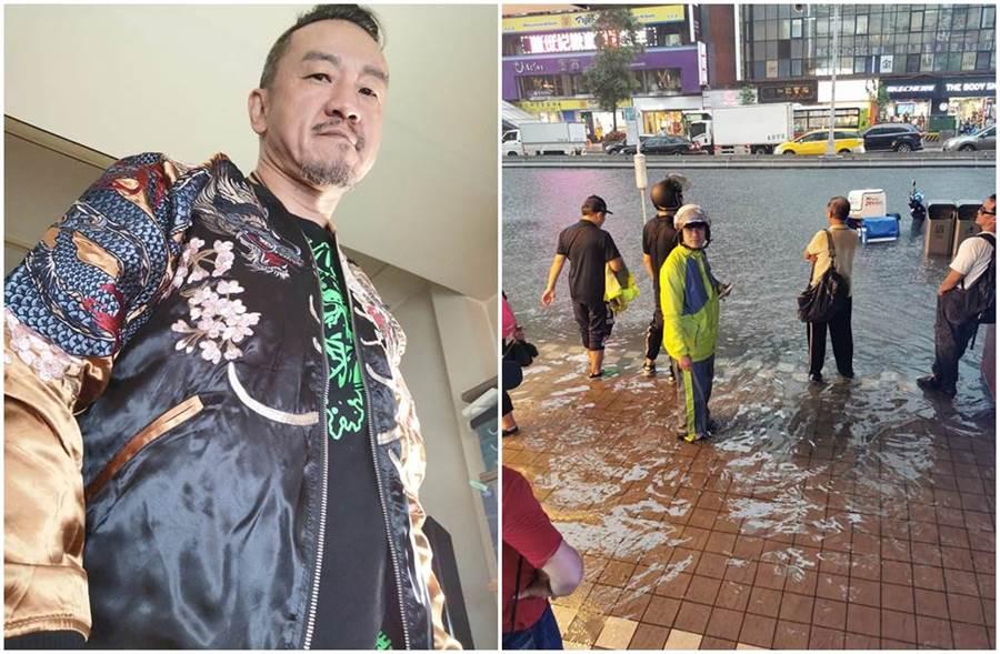 陳為民臉書曬出台北東區淹水照。(圖/陳為民臉書)