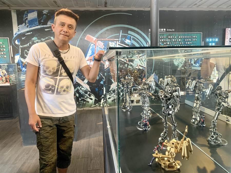 梁乃元創作的微型機器人,具收藏價值。(廖志晃攝)