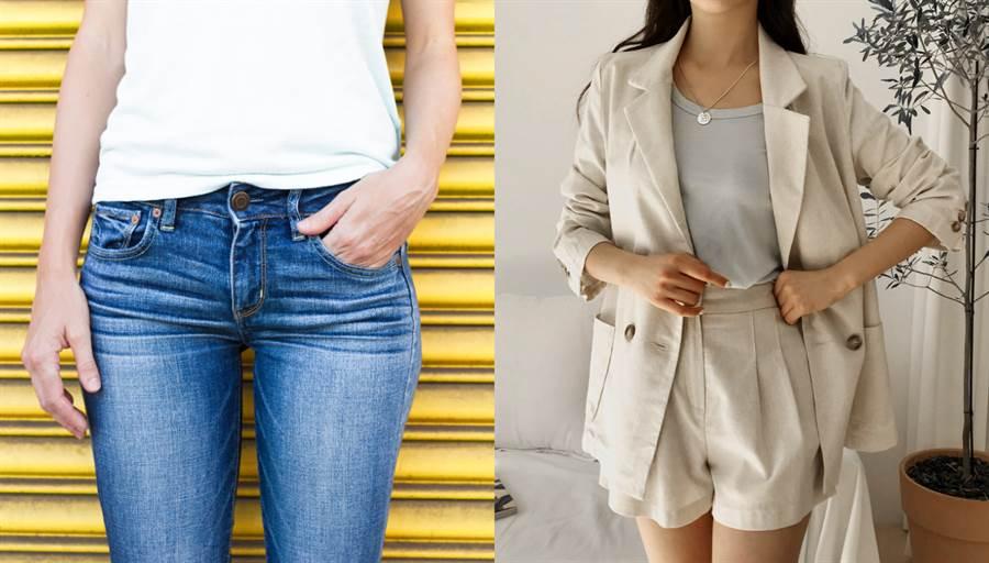 上班盡量避免穿合身牛仔褲,建議以亞麻短褲替代。(圖/shutterstock、.PIONIN官網)