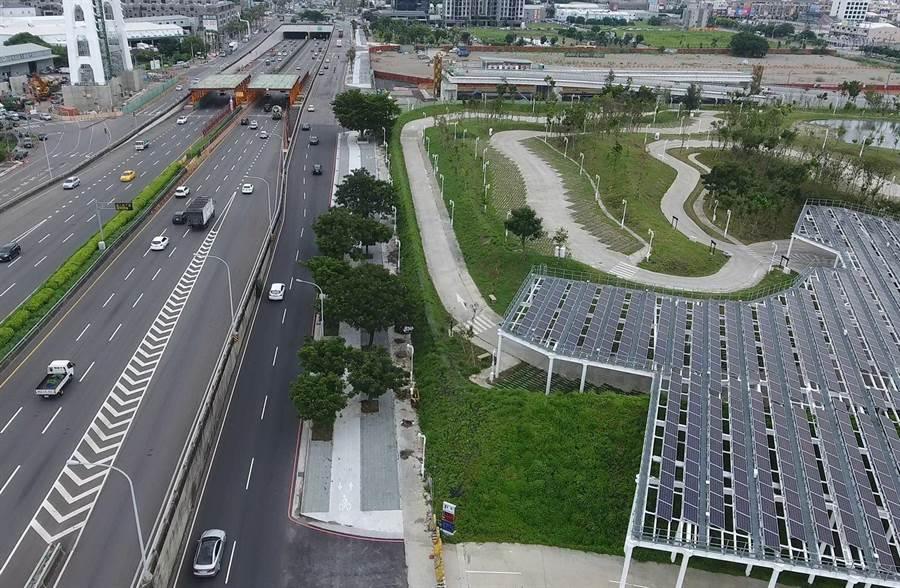 台中市建設局打造會呼吸的路,西屯區環中路二段道路改善工程8月完工。(圖/台中市府提供)