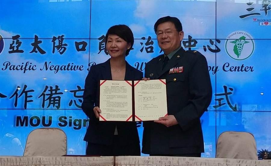 三總院長蔡建松(右)與廠商簽約建立亞太首例「傷口負壓治療中心」。(陳志祥攝)