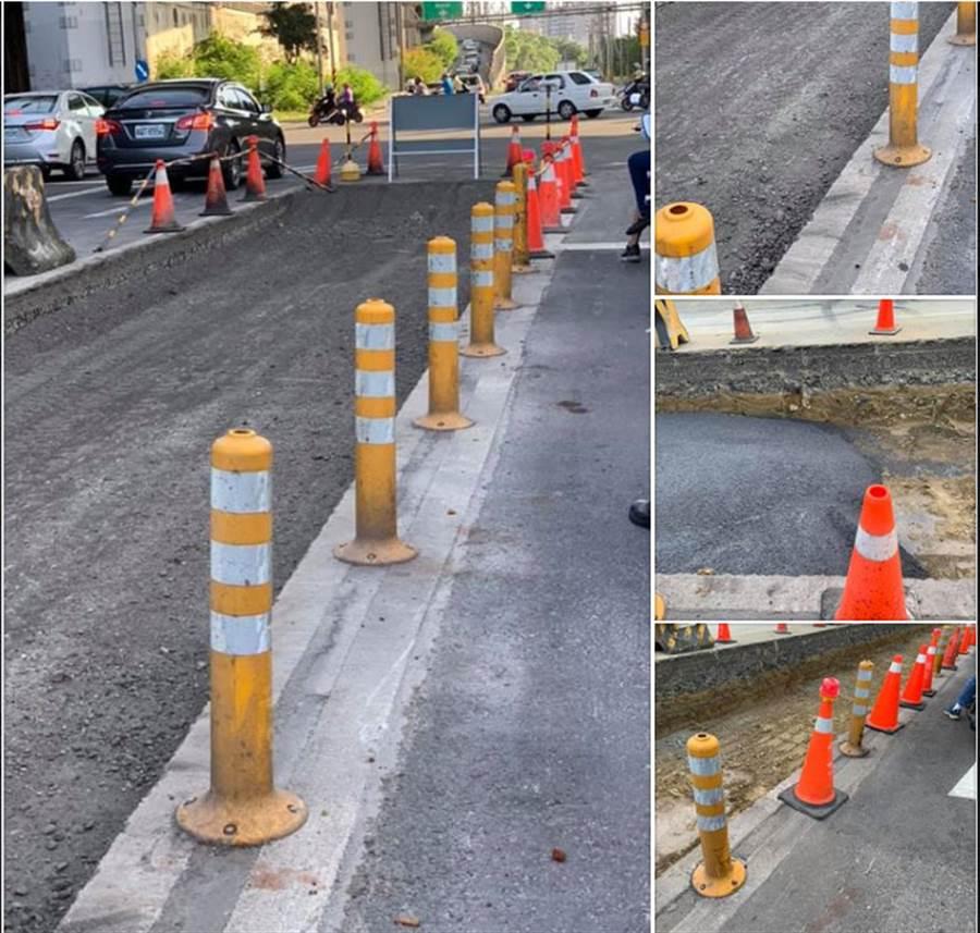 網友將五甲一路和臨海路鋪設施工現場照片po上網路,大讚「鋪路還灌漿,要多實在」。(圖/擷自挺韓進府青年團臉書)