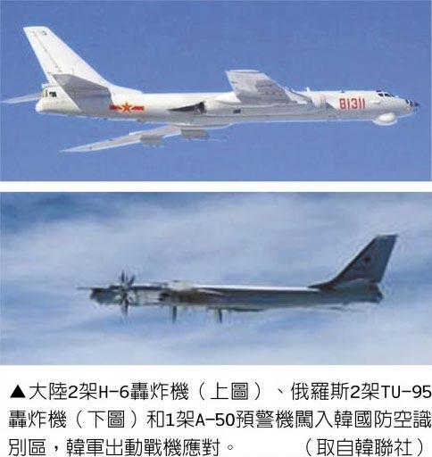 大陸2架H-6轟炸機(上圖)、俄羅斯2架TU-95轟炸機(下圖)和1架A-50預警機闖入韓國防空識別區,韓軍出動戰機應對。(取自韓聯社)
