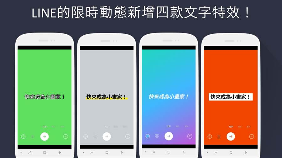 LINE Android更新至v9.12.0,限時動態新增文字特效。(圖/翻攝LINE Blog)