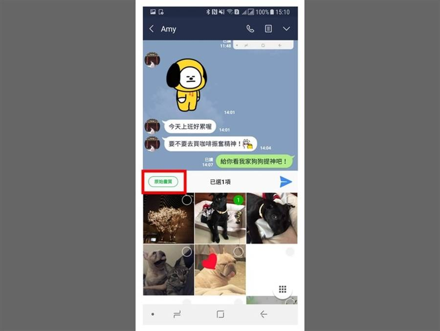 LINE Android更新至v9.12.0,傳送原始畫質照片的方法更簡單。(圖/翻攝LINE Blog)