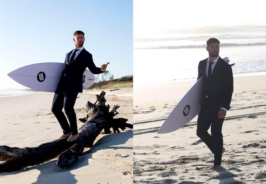 Chris Hemsworth 身穿 BOSS「可水洗西裝」。(圖/品牌提供)