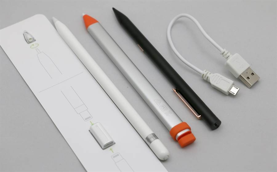 第一代Apple Pencil、罗技Crayon以及Adonit Note触控笔与盒子内充电相关配件。