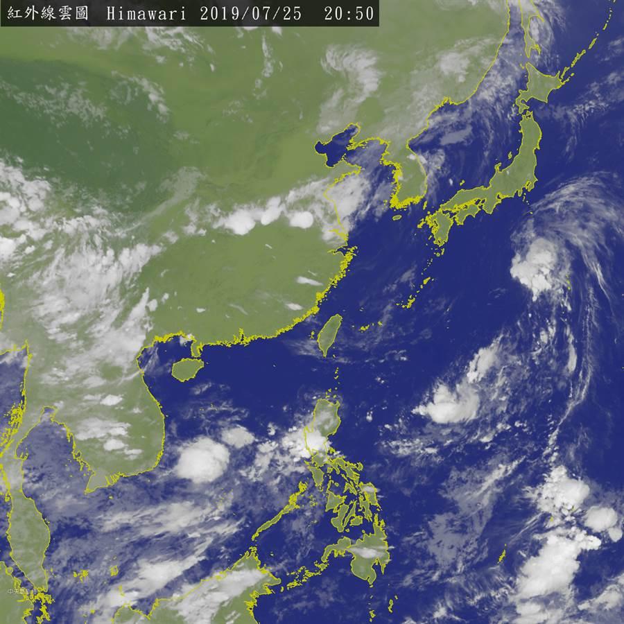 氣象局25日發布的雲圖。(圖擷自氣象局)