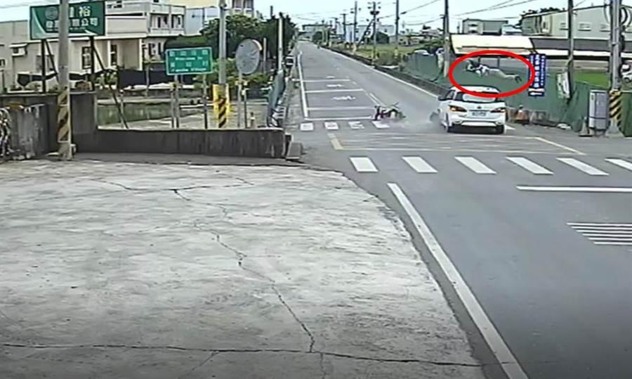 騎乘機車的老婦人與汽車駕駛到路口均未減速,老婦人當場被撞彈飛逾1公尺高,在重摔掉落路旁溝渠,當場失去生命跡象。(謝瓊雲翻攝)