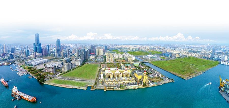 畫面屬於綠色的土地,即是面積約170公頃的亞洲新灣區。圖/高雄地政局提供