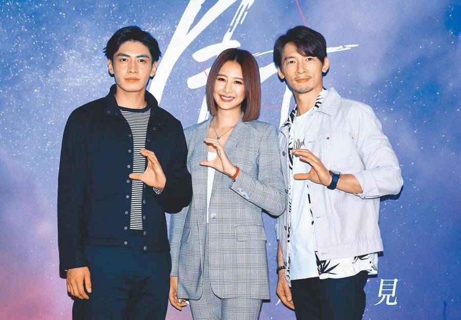 溫昇豪(右起)、安心亞、宋柏緯合拍的新戲剛殺青,前晚首次受訪。(粘耿豪攝)