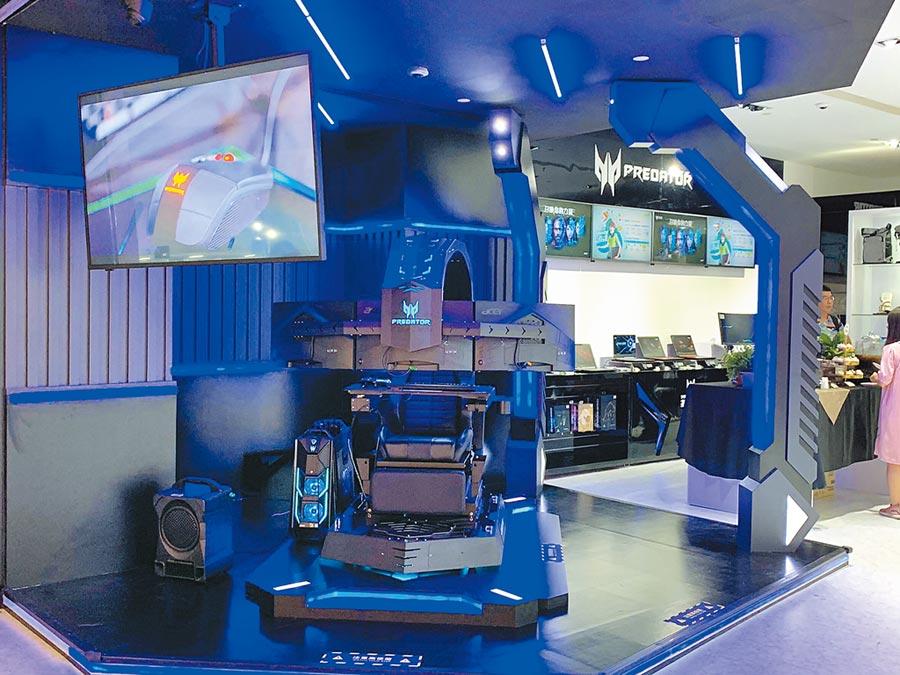 宏碁首座品牌旗艦精品館高雄夢時代開幕,特別引進Predator掠奪者電競座艙到南台灣。(宏碁提供)