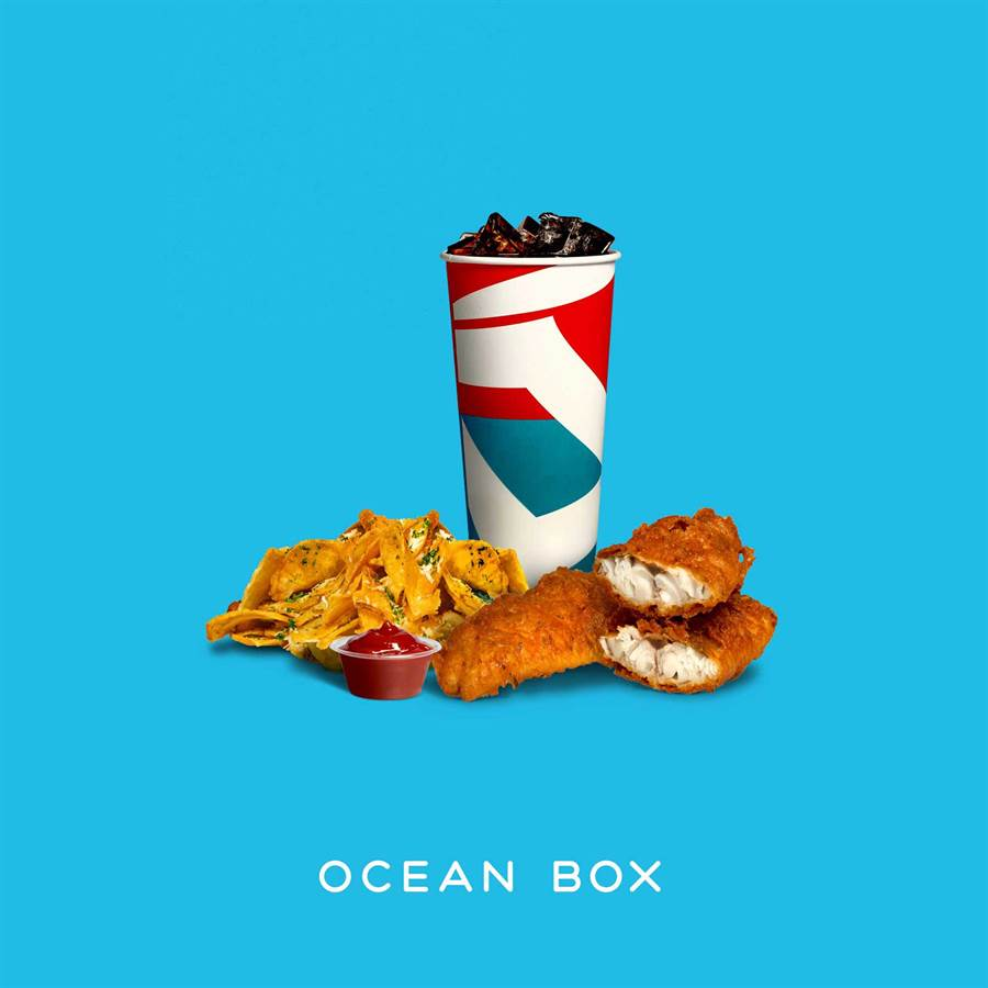 新光三越信義A11 2F新櫃OCEAN BOX經典炸魚薯片盒,套餐230元、單點150元。(新光三越提供)