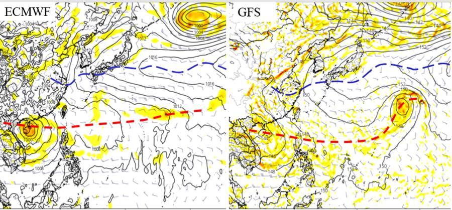 最新(25日20時)歐洲中期預報中心(ECMWF)及美國(GFS)模式顯示,下周進入「季風低壓槽 (紅線)」,易有擾動發展,有利颱風生成。(圖擷自tropical tidbits/吳德榮專欄)