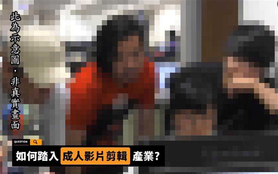 上班剪成人片精彩預告時,男同事會齊聚討論。(照片/ 翻攝《中時電子報》直播畫面)