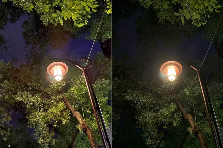 ROG Phone II(左)與iPhone XS Max夜間拍攝對比。(圖/黃慧雯攝)