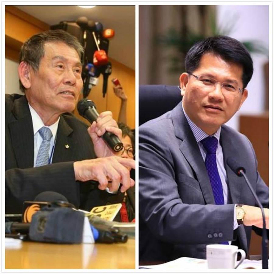 交通部長林佳龍(右)、華航董事長謝世謙。(資料照/中時)