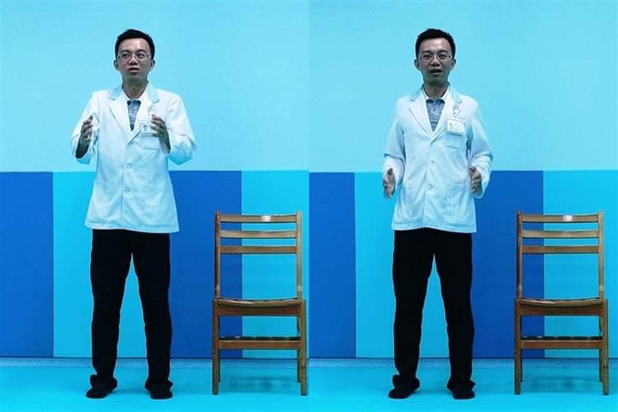 沈傳凱教5招解壓力,做些肌肉伸展,矯正正常姿勢,可以減低酸痛。(張妍溱翻攝)